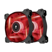 Corsair® Air Series AF120 Quiet Edition High Airflow Cooling Fan, Black with Red LED, 2/Pack (CO-9050016-RLED)