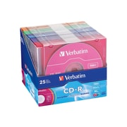 Verbatim® 94611 700MB CD-R Recordable Media with Color Branded Surface, Slim Case, 25/Pack