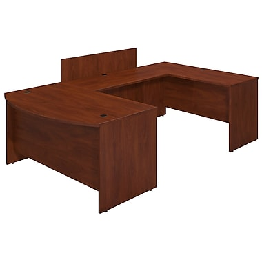 Bush® Business Westfield Elite 60W x 36D Bowfront U Station Desk Shell with Privacy Bridge, Hansen Cherry