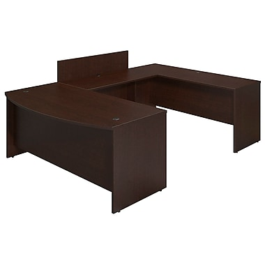 Bush® Business Westfield Elite 72W x 36D Bowfront U Station Desk Shell with Privacy Bridge, Mocha Cherry