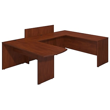 Bush® Business Westfield Elite 72W x 30D Peninsula U Station Desk Shell with Privacy Return, Hansen Cherry