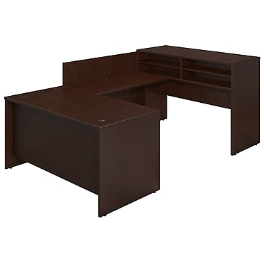 Bush® Business Westfield Elite 60W x 30D U-Station w Standing Height Desk Shell, Mocha Cherry