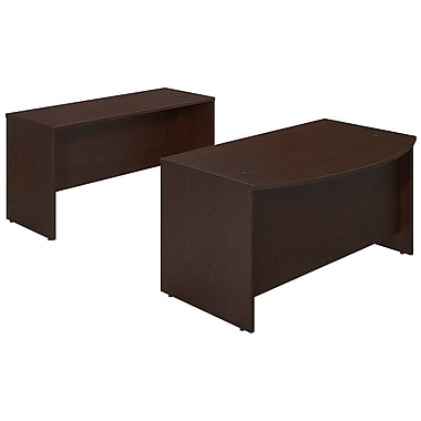 Bush® Business Westfield Elite 60W x 36D Bowfront Desk Shell with Credenza, Mocha Cherry