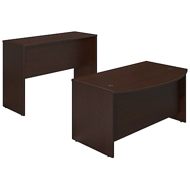 Bush® Business Westfield Elite 60W x 36D Bowfront Desk Shell with Standing Height Credenza, Mocha Cherry