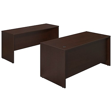 Bush® Business Westfield Elite 66W x 30D Desk Shell with Credenza, Mocha Cherry