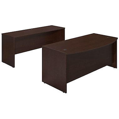 Bush® Business Westfield Elite 72W x 36D Bowfront Desk Shell with Credenza, Mocha Cherry