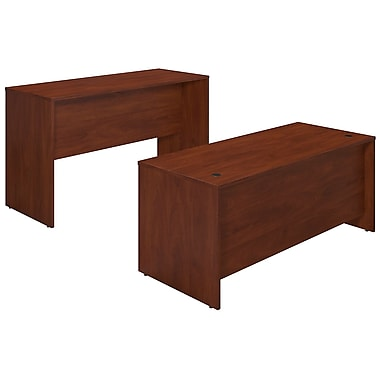 Bush® Business Westfield Elite 72W x 30D Desk Shell with Standing Height Credenza, Hansen Cherry