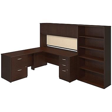 BushMD Business – Coquille 72 L x 30 P (po) et retour, étagère, rangement et bibliothèque 48 po Westfield Elite, cerisier Moka