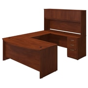 Bush® Business Westfield Elite 72W x 36D Bow Front U-Station with Storage, Hansen Cherry