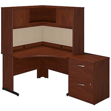 Bush® Business Westfield Elite 48W x 48D C Leg Corner Desk with Storage, Hansen Cherry