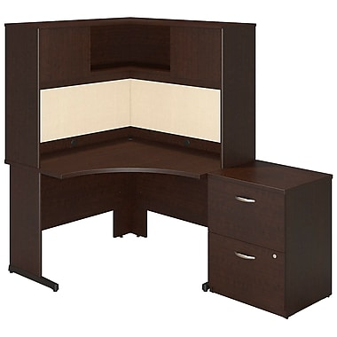 Bush® Business Westfield Elite 48W x 48D C Leg Corner Desk with Storage, Mocha Cherry