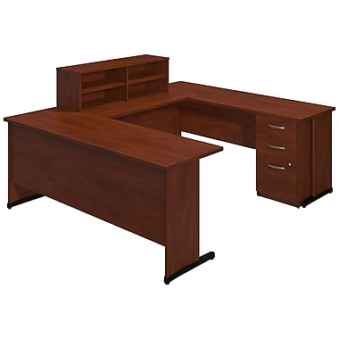 Bush® Business Westfield Elite 72W x 24D C Leg U Station with Storage, Hansen Cherry