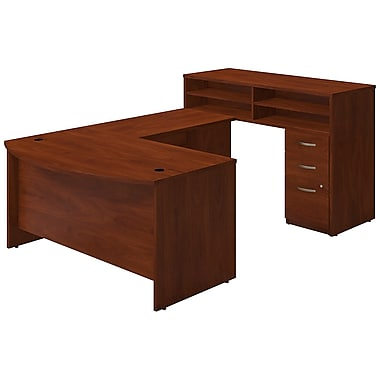 Bush® Business Westfield Elite 60W x 36D Bow Front U Station with Standing Height Desk and Storage, Hansen Cherry