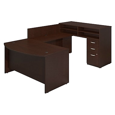 Bush® Business Westfield Elite 60W x 36D Bow Front U-Station with Standing Height Desk and Storage, Mocha Cherry