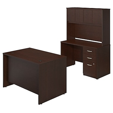 Bush® Business Westfield Elite 48W x 30D Desk Shell with Credenza and Storage, Mocha Cherry