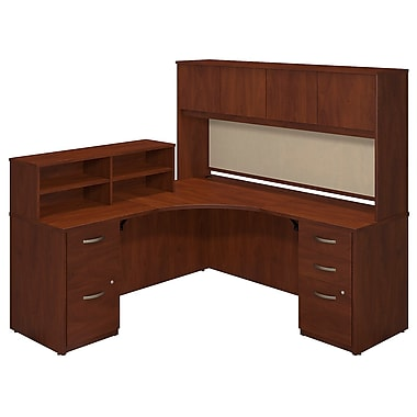 Bush® Business Westfield Elite 42W x 42D Corner Desk with Returns, Hutch and Storage, Hansen Cherry