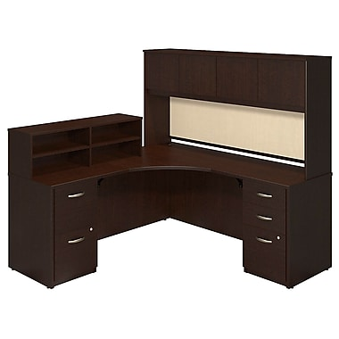 Bush® Business Westfield Elite 42W x 42D Corner Desk with Returns, Hutch and Storage, Mocha Cherry