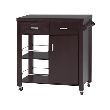 Brassex 11440 Kitchen Cart with 2 Storage Drawers, Cupboard with Shelve and 2 Open Shelves, 31 x 15 x 35, Dark Cherry