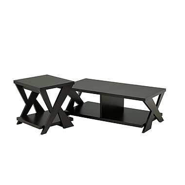 Brassex 13696 Coffee and End Table Set, Dark Cherry
