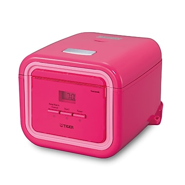 Tiger 3-Cups 4-in-1 Microcomputer Controlled Rice Cooker, Pink