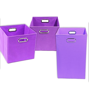Modern Littles Color Pop Solid 3 Piece Laundry Hamper and Waste Basket Set
