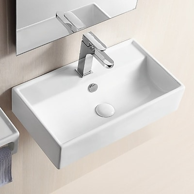 Caracalla Ceramic 22'' Wall Mount Bathroom Sink w/ Overflow