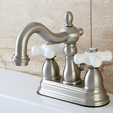 Kingston Brass Heritage Centerset Double Handle Bathroom Faucet w/ Drain Assembly; Satin Nickel