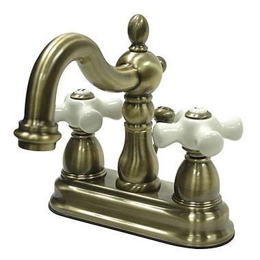 Kingston Brass Heritage Double Handle Centerset Bathroom Sink Faucet w/ ABS Pop-Up Drain