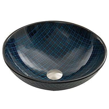 Vigo Glass Vessel Bathroom Sink; Blue Matrix