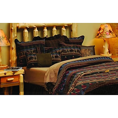 Wooded River Cabin Bear Bedspread; Super Queen