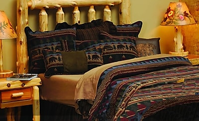 Wooded River Cabin Bear Bedspread; Super King