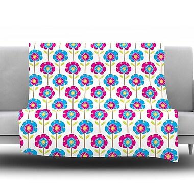 KESS InHouse Lolly Flowers by Apple Kaur Designs Fleece Throw Blanket; 80'' H x 60'' W x 1'' D