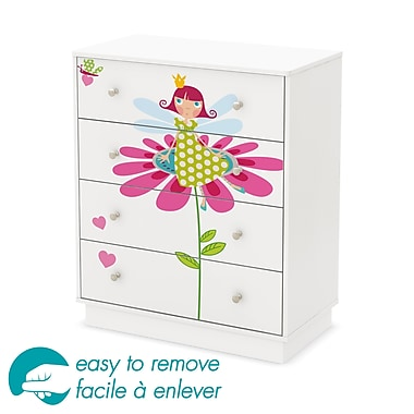 South Shore – Commode à 4 tiroirs de la collection Joy avec décalcomanie de fée Ottograff, 37,75 x 31,5 x 17 po, blanc