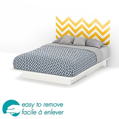 South Shore Step One Queen Storage Platform Bed with Yellow Chevron Headboard Ottograff Wall Decal, White