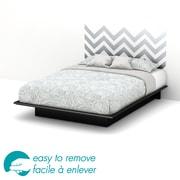 South Shore – Grand lit plateforme 60 po Step One avec décalcomanie de chevron gris pour tête de lit, 82 x 64 x 10 po, noir