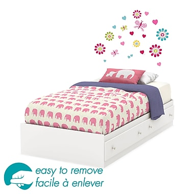 South Shore – Lit simple de la collection Joy avec tiroirs et décalcomanie murale de fleurs Ottograff, 14 x 40 x 76 po, blanc