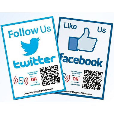 Shopping Wall Social Media LUOF-002-2 Facebook Twitter QR Code Stickers Set of 2