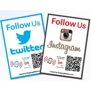 Shopping Wall LUOF-006-2 QR Code Stickers, Social Media, Twitter and Instagram, 2/Set
