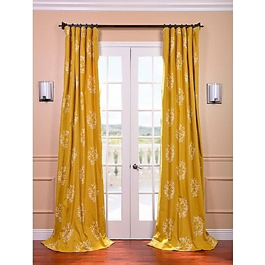 Half Price Drapes Isles Printed Cotton Damask Rod Pocket Single Curtain Panel; 50'' W x 84'' L