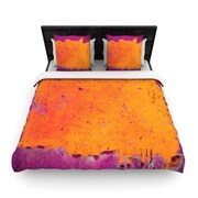 KESS InHouse ''Orange Purple'' Paint Woven Comforter Duvet Cover; Twin