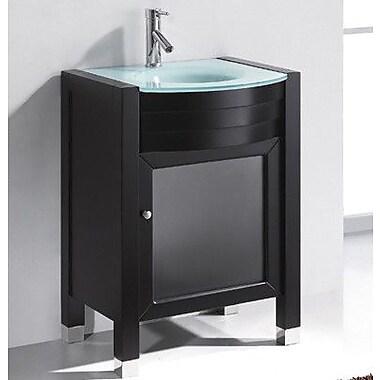 Virtu Ultra Modern 24'' Single Bathroom Vanity Set w/ Mirror; Espresso