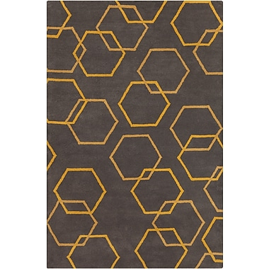 Chandra Stella Patterned Contemporary Wool Charcoal/Yellow Area Rug; 5' x 7'6''