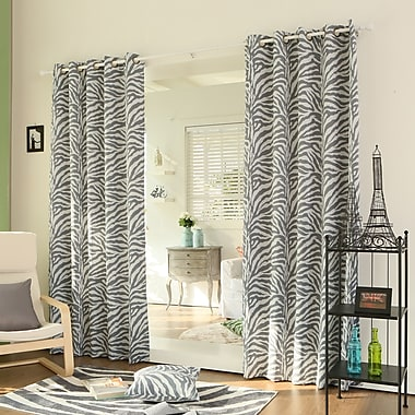 Best Home Fashion, Inc. Zebra Room Animal Print Semi-Sheer Grommet Curtain Panels (Set of 2); Gray