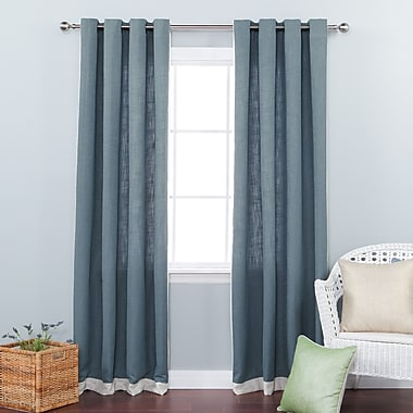 Best Home Fashion, Inc. Bordered Heavyweight Solid Semi-Sheer Grommet Curtain Panels (Set of 2)
