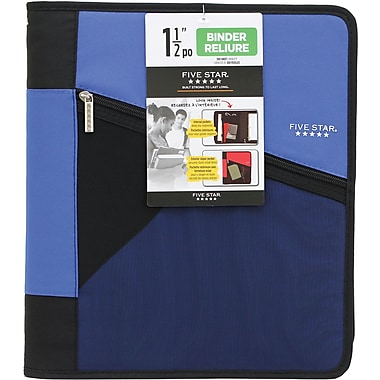 Five Star 1 12 Stash Zipper Binder Assorted Staples