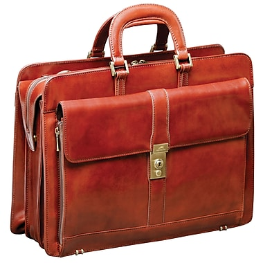 Mancini Luxurious Italian Leather Laptop/Tablet Briefcase, Brown