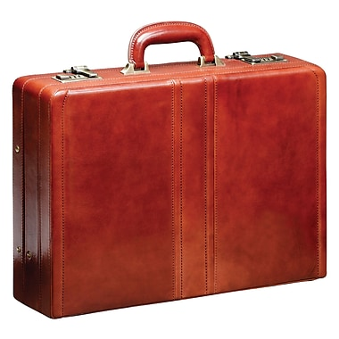Mancini Luxurious Italian Leather Expandable Attache Case, Brown