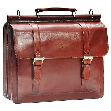 Mancini - Mallette luxueuse en cuir italien pour ordinateur portatif de 15,6 po, brun