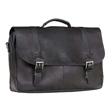 Mancini Double Compartment Briefcase for Laptop and Tablet, Black