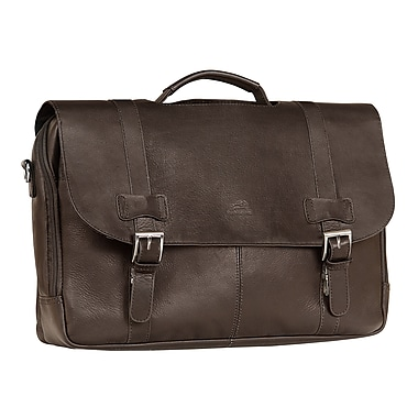 Mancini Double Compartment Briefcase for Laptop and Tablet, Brown